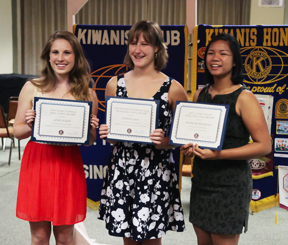 Leah Zeiger, Hannah Gray and Patricia San Pedro, Kiwanis Scholarship winners